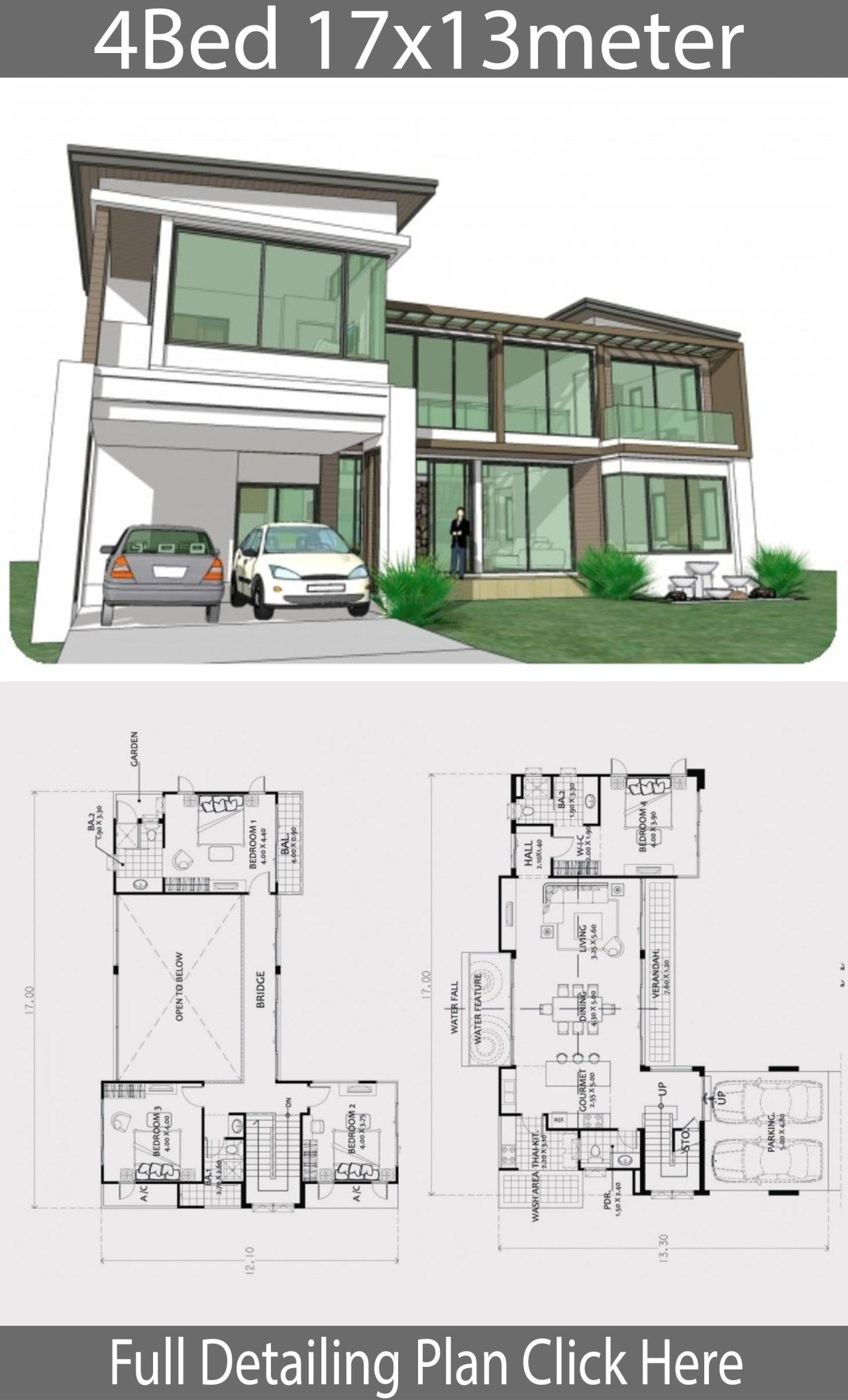 Home Design Plan 17x13m With 4 Bedrooms Home Ideas Beautiful House Plans Architecture House Architecture Plan