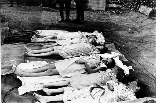 The Goebbels children, dead by cyanide that was administered by their parents in the Führerbunker, photographed after being discovered by the Soviets. 1945