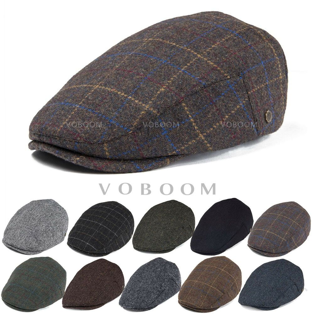 27ef557f825 WOOL BLEND IVY CAP MENS TWEED HERRINGBONE WINTER HAT WARM NEWSBOY CAP  GATSBY 2