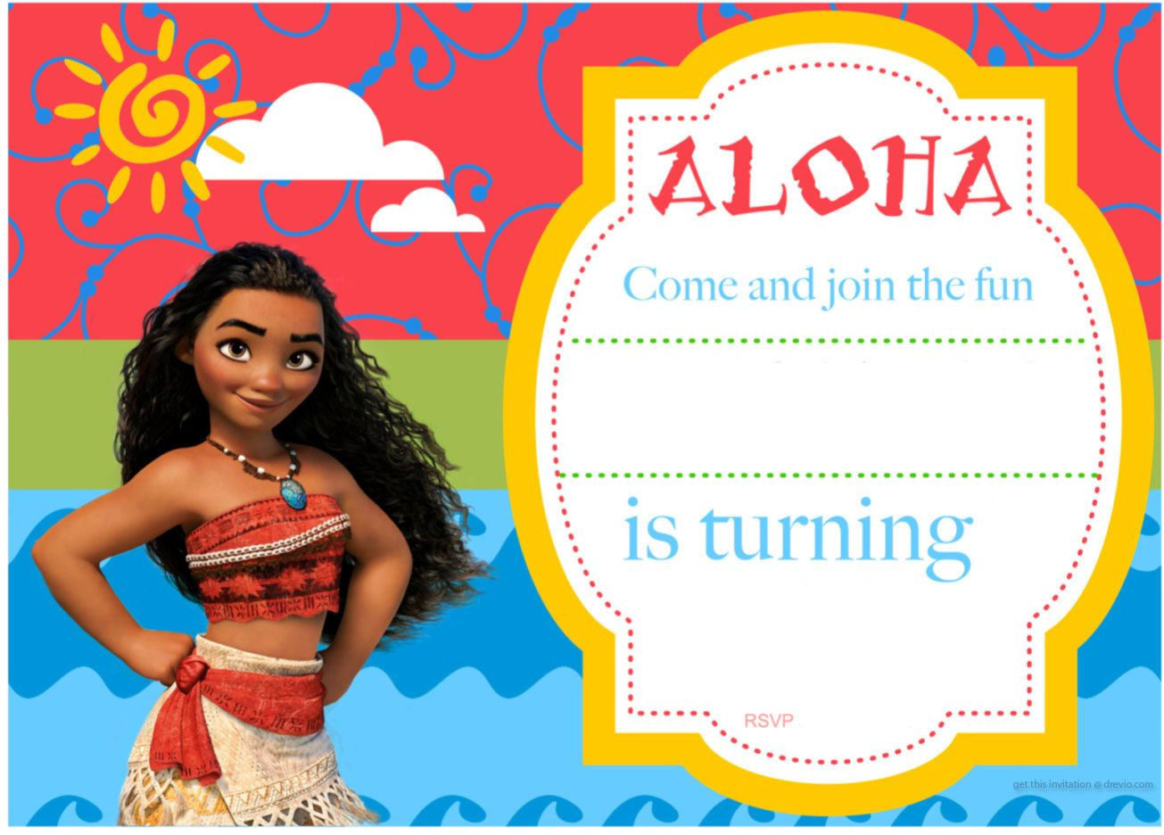 picture about Moana Printable Invitations known as Totally free Printable Moana Birthday Invitation and Social gathering
