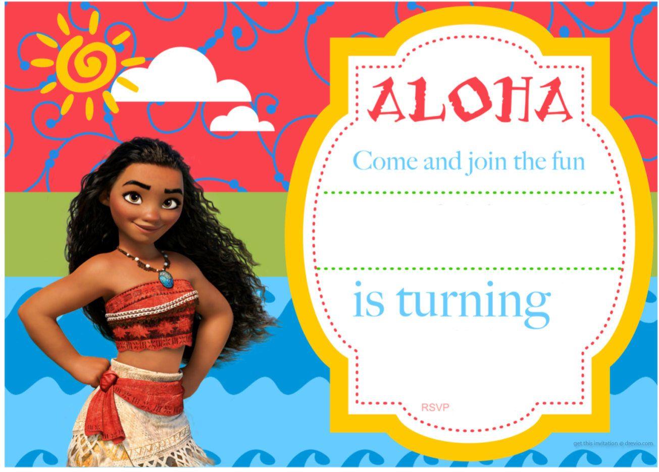 Download Now Free Printable Moana Birthday Invitation and Party – Free Baby Birthday Invitations