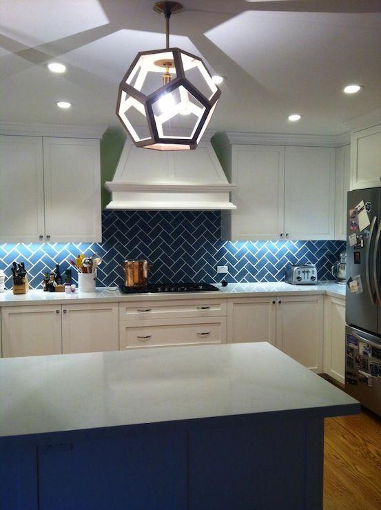 Kitchen Backsplash Blue blue herringbone backsplash & island | kitchen design | pinterest
