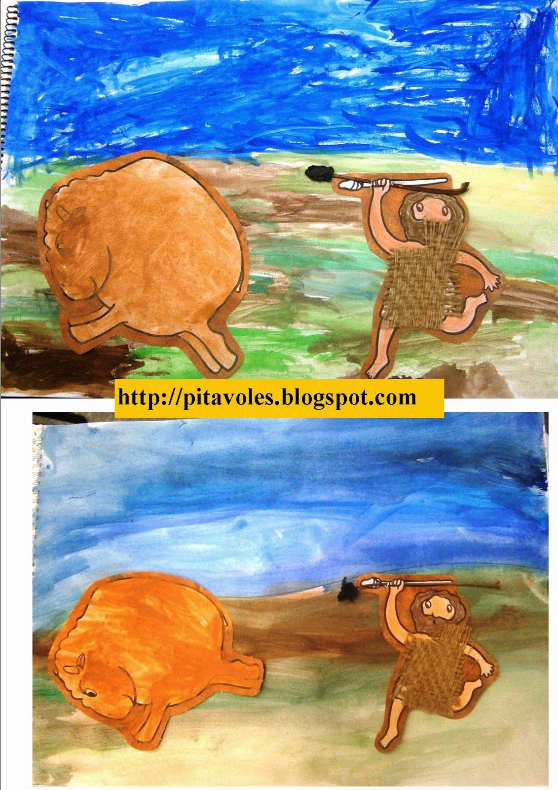 Les girafes treballem la prehistòria i pintem amb argila