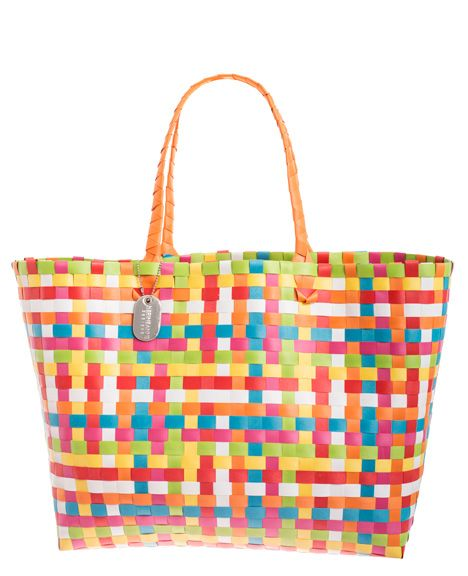 ACCESSORIES :: Bags :: Multicoloured Orange Plastic Woven Beach ...