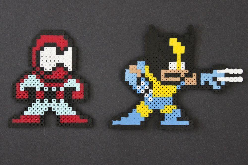 Spiderman and Wolverine perler bead sprites by Kelsey Rushing