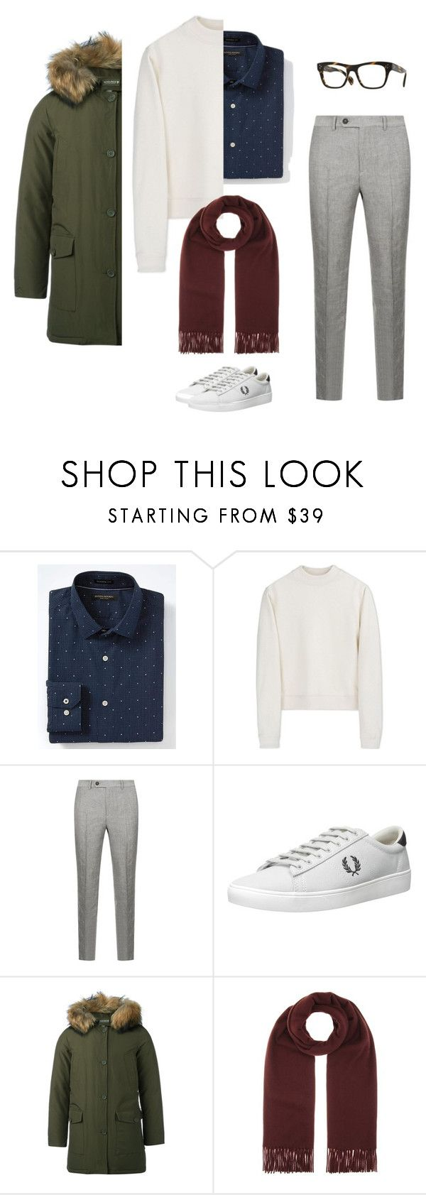 """cool hippie look2"" by yuri-writer on Polyvore featuring Banana Republic, Acne Studios, Brunello Cucinelli, Fred Perry, Woolrich, Oliver Peoples, men's fashion and menswear"