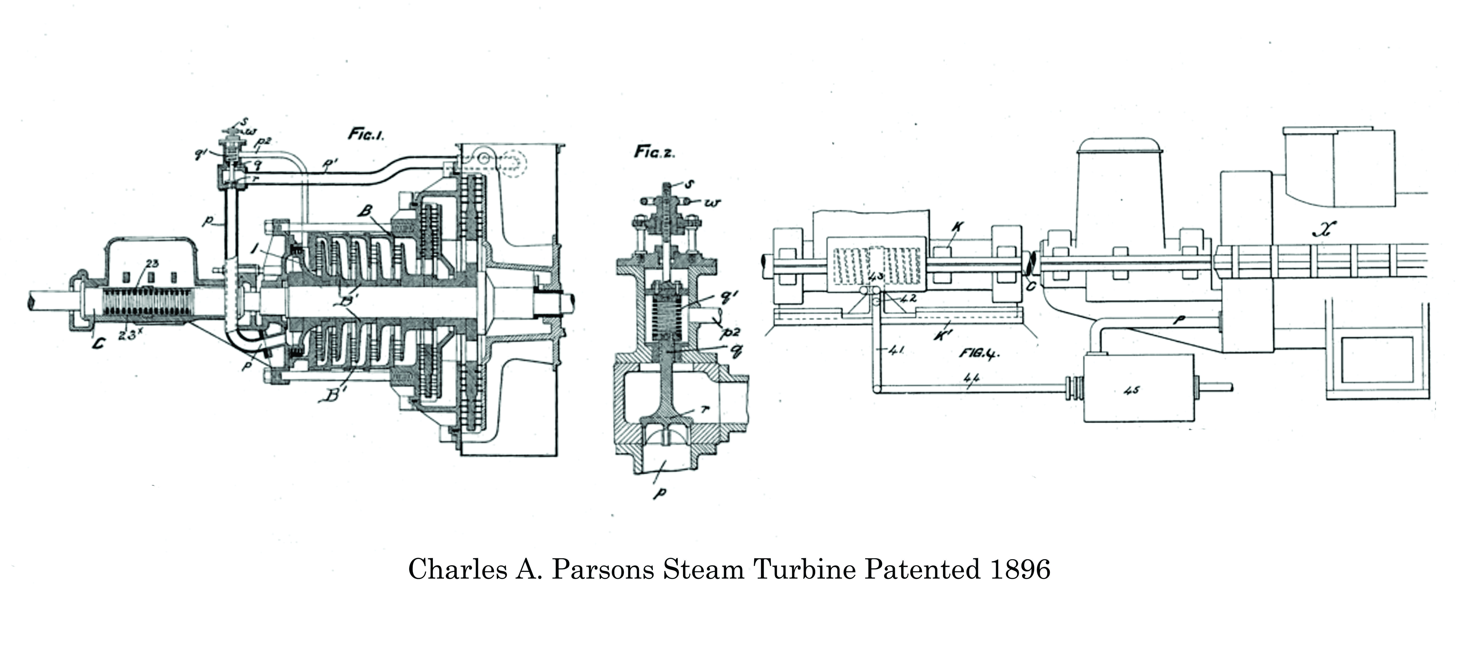 Patent Drawings for the Charles A. Parsons Steam Turbine ... on