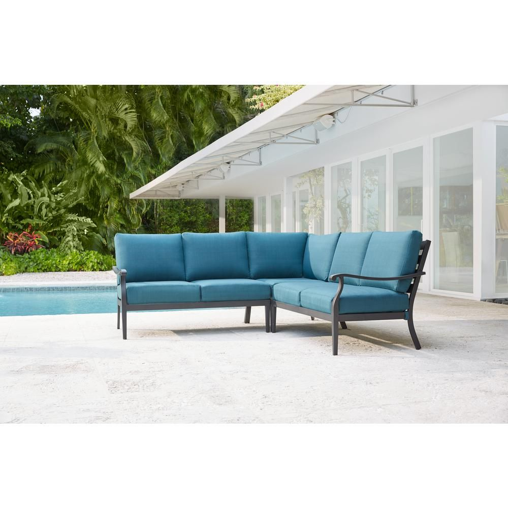 Hampton Bay Riley 3-Piece Metal Outdoor Sectional Set with ... on Riley 3 Piece Sectional Charleston id=42548