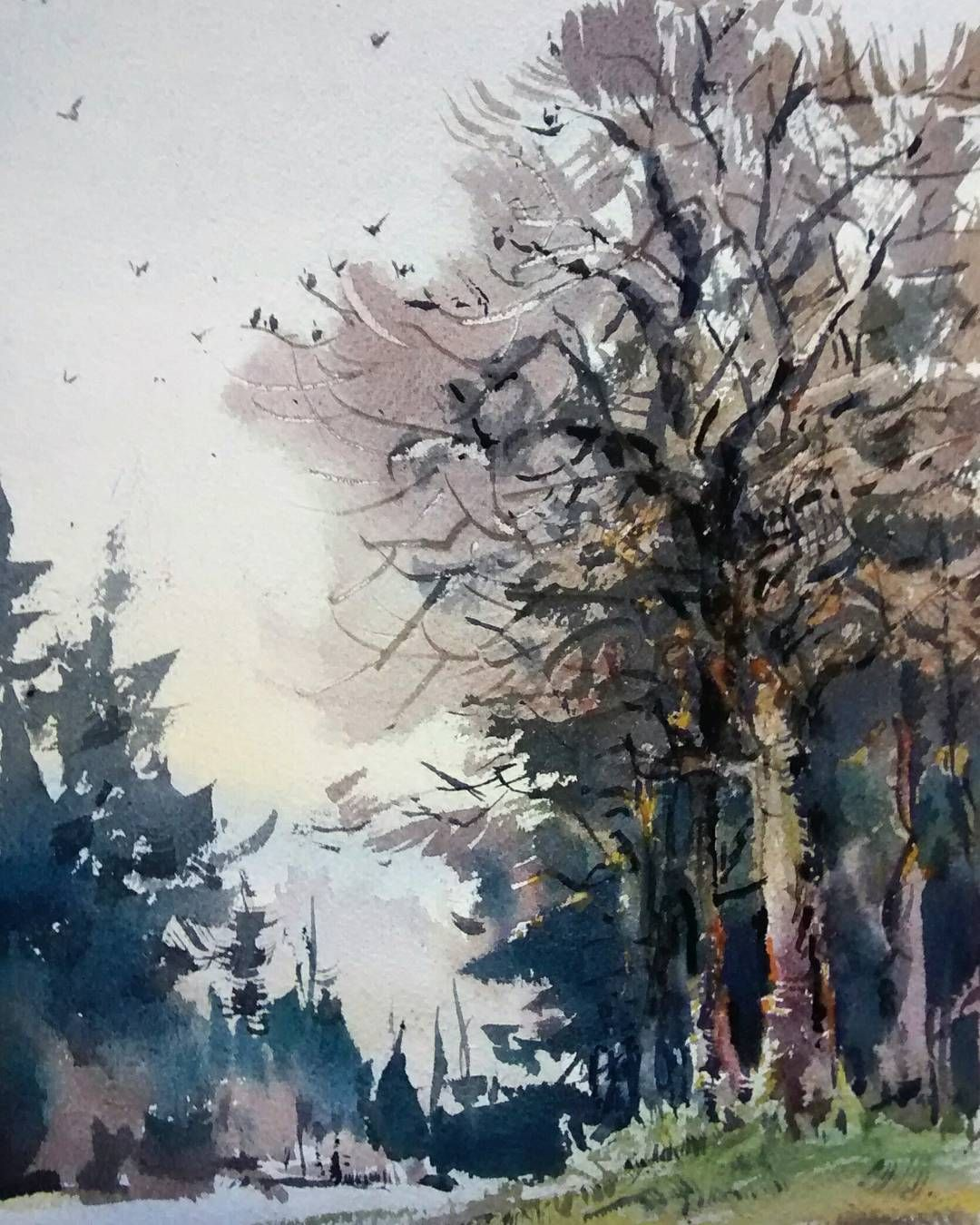 Winter Landscape In Portland Oregon Curator 水彩画 Watercolor