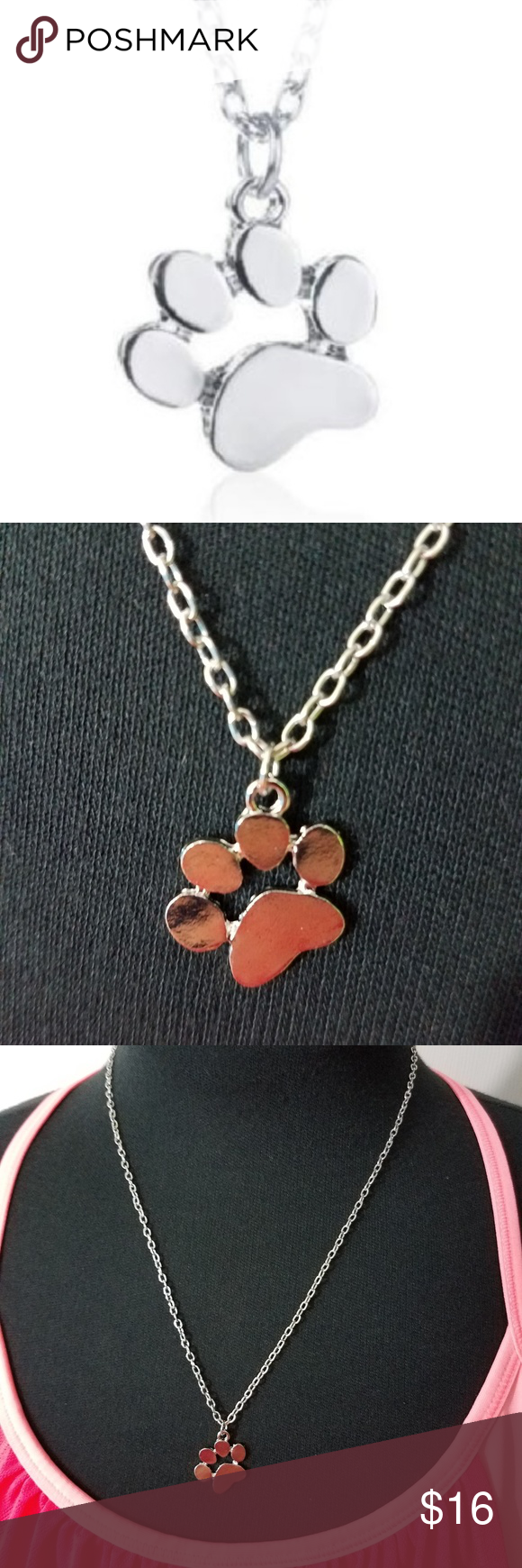 Paw Print Necklace in Silver Plate
