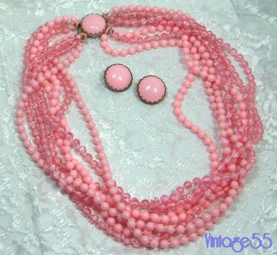Vintage Necklace Earrings Pink Beaded Clip on by Vintage55 on Etsy, $12.00