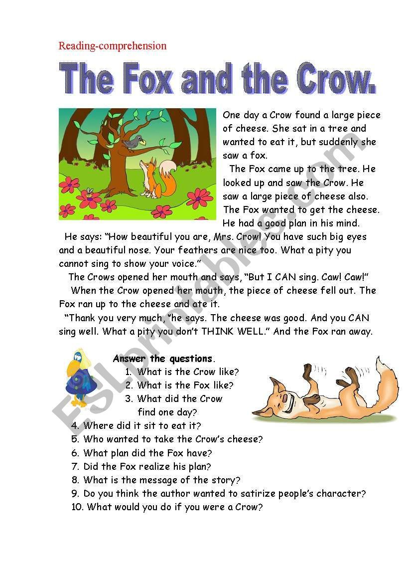 This Story Has A Moral Which Is Very Useful To Be Discussed With Our Students I Think When Reading Comprehension Reading Comprehension Lessons English Reading [ 1169 x 821 Pixel ]