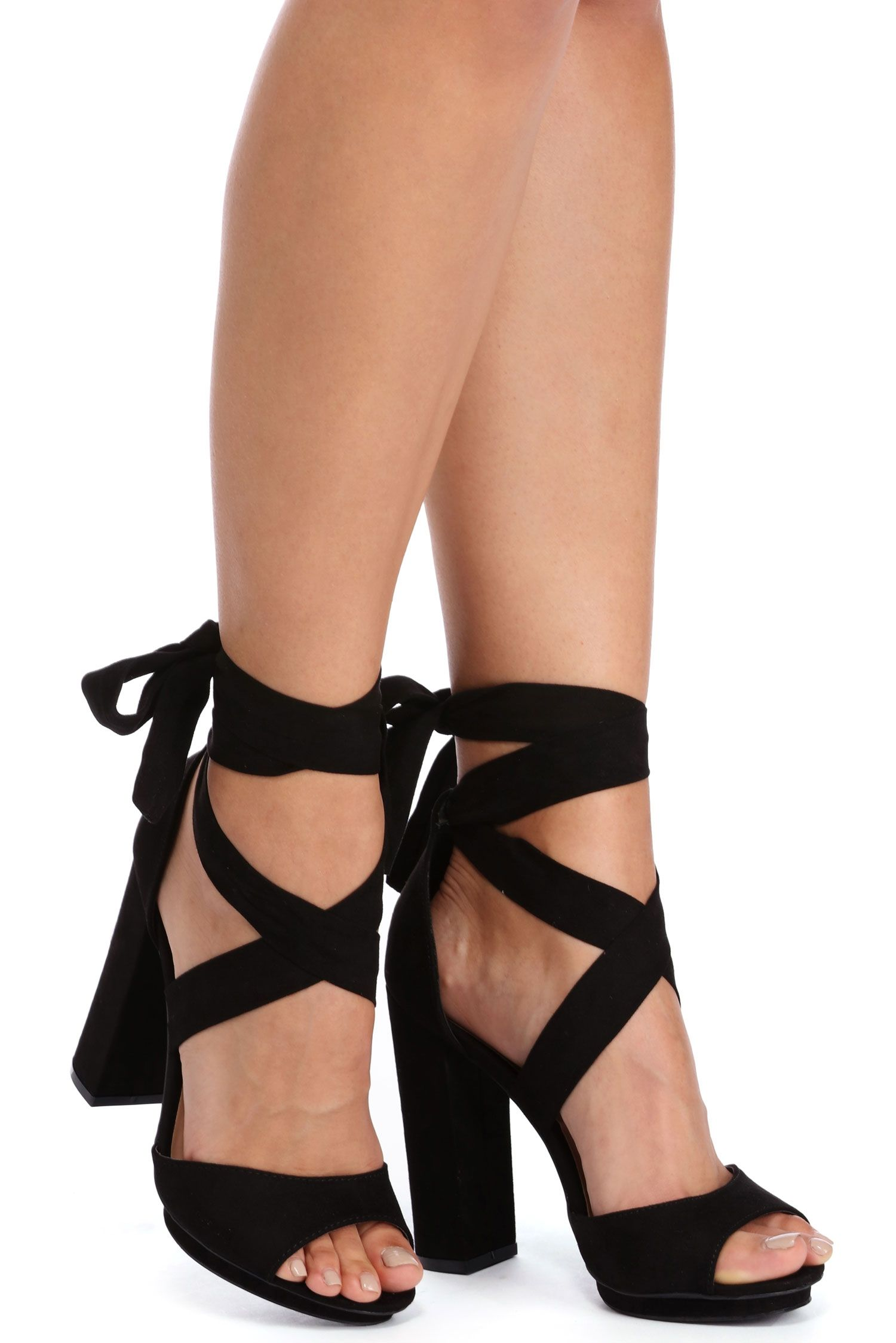 b293d64331a Black Wrap Around Platform Heels | windsor | *Shoes* | Wrap around ...