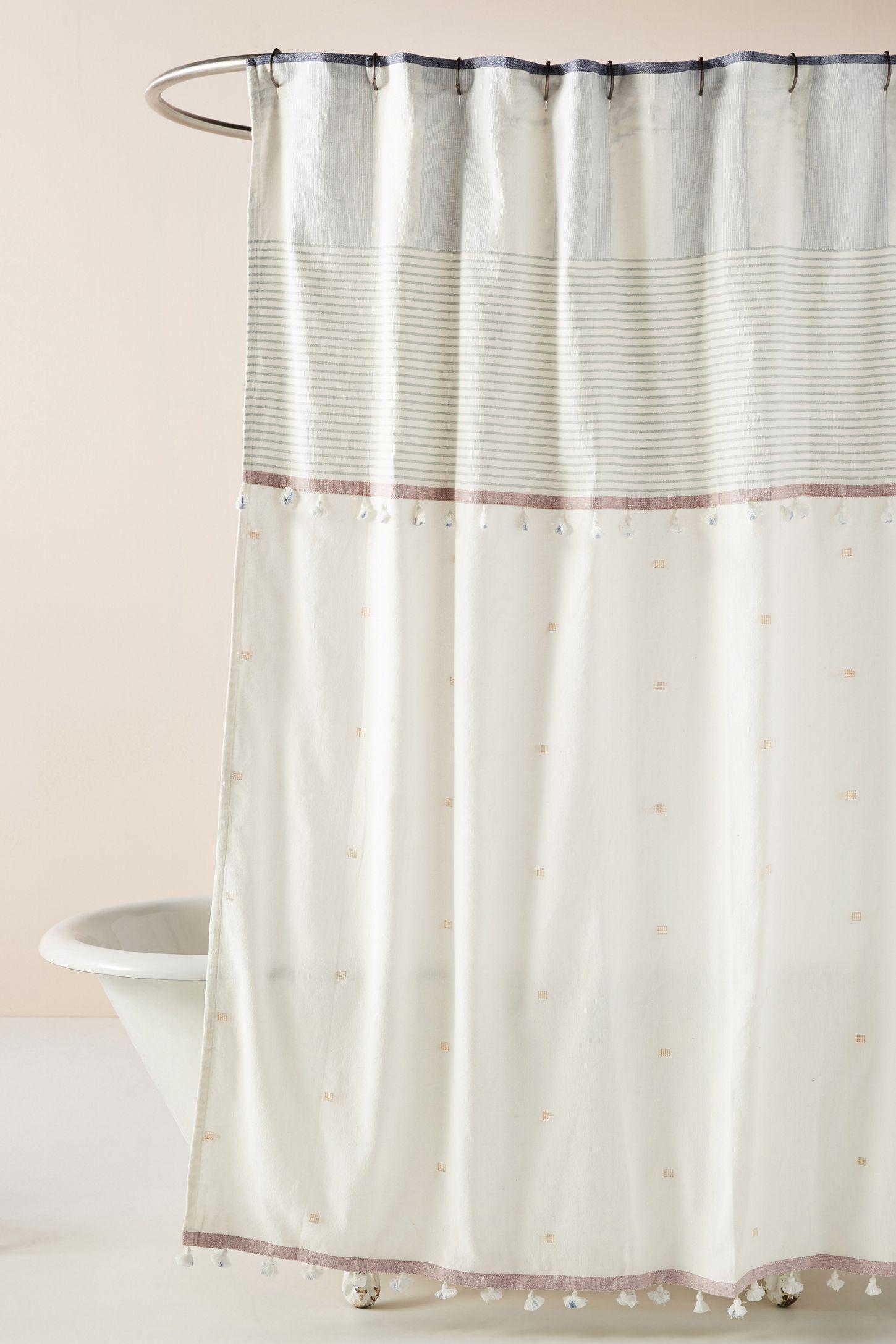 Tasseled Rayas Shower Curtain Curtains Shower Curtain Rustic