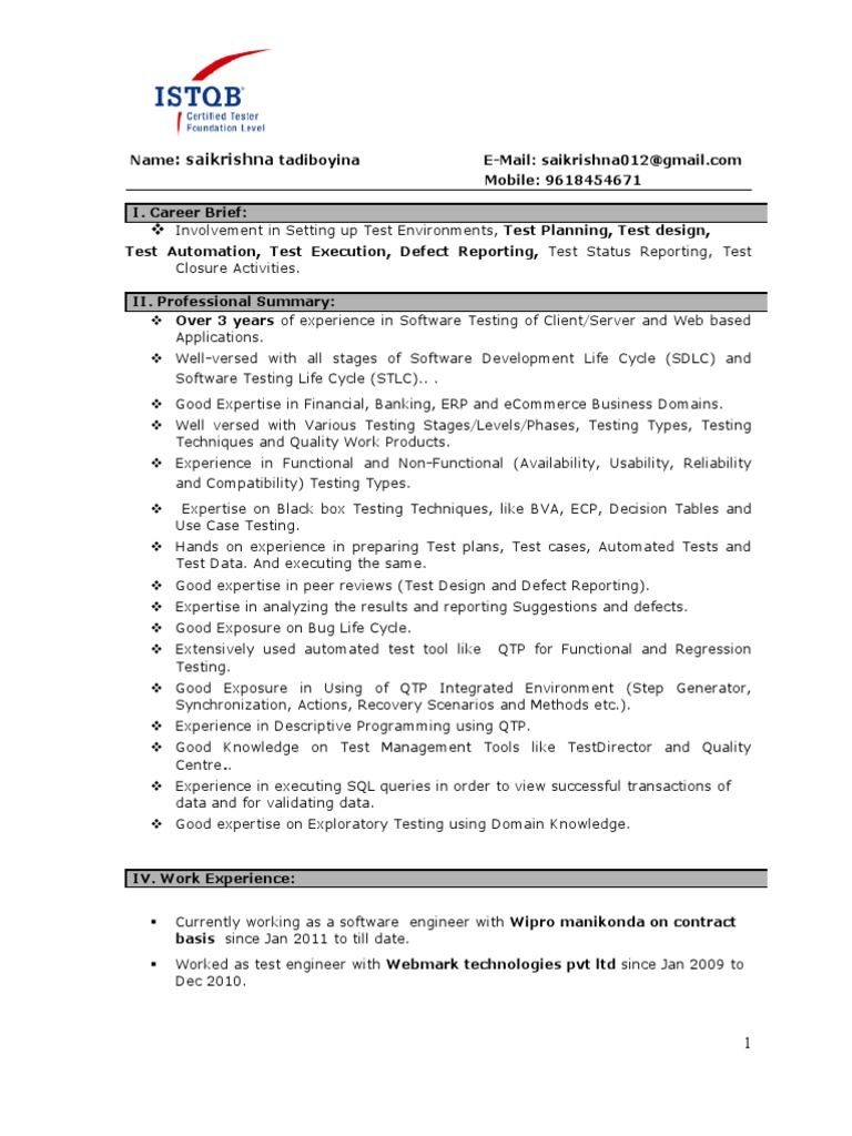 Resume For 1 Year Experience In Testing Best Resume Examples