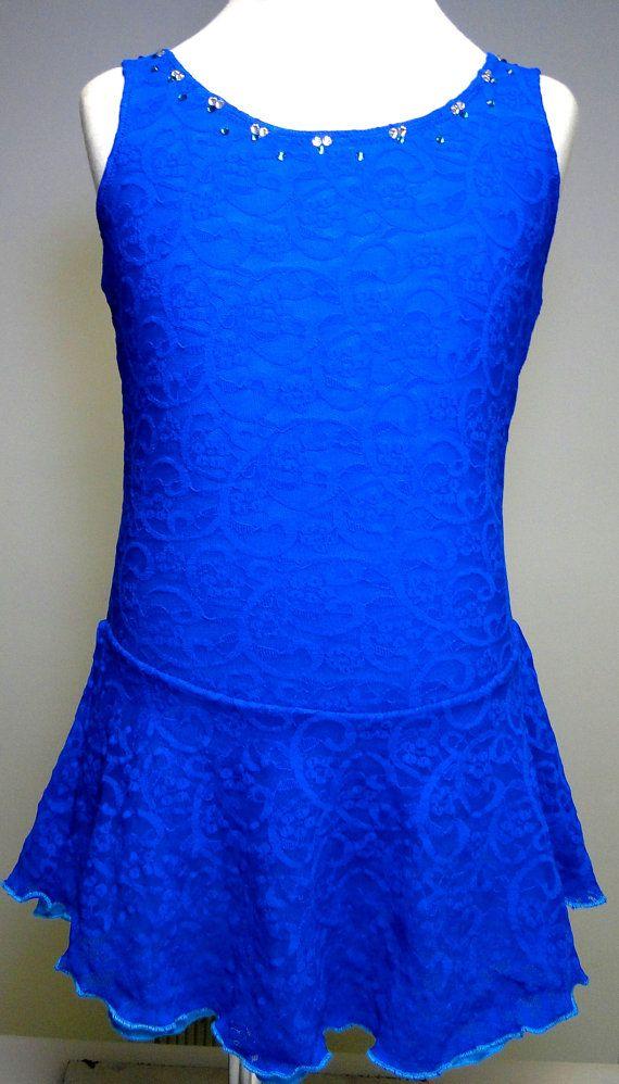 Sk8 Gr8 Designs Cobalt Blue Lace over Turquoise Figure Skating Competition Dress. www.etsy.com/shop/Sk8Gr8Designs