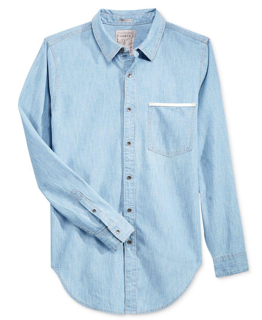 1f3de4556b9a Guess Men's Longline Denim Long-Sleeve Shirt   Denim shirts   Button ...