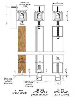Coburn Straightaway 180 Sliding Door Gear Dimensions