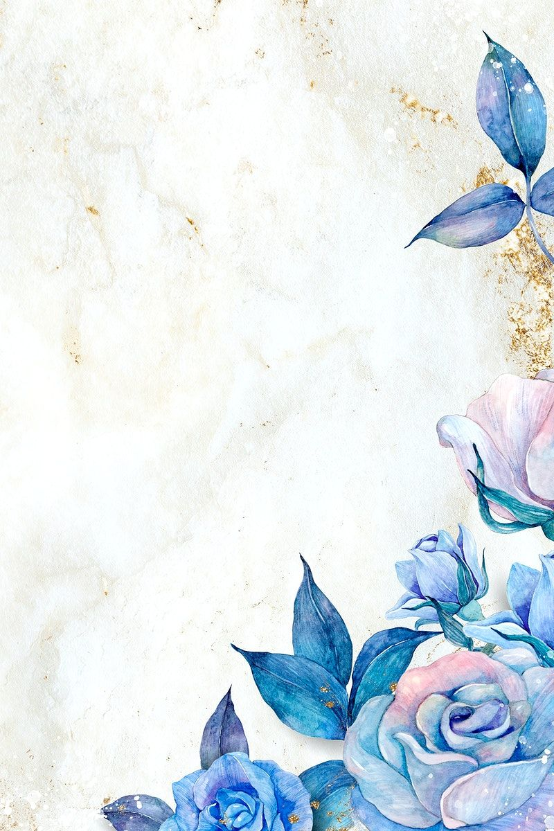 Download premium illustration of Watercolor blue rose border on marble texture  by Adj about floral, borders, florals, art and artwork 2472787