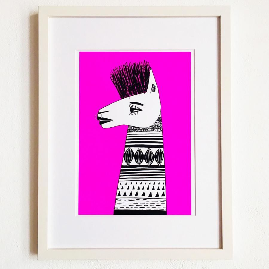 Llama punk limited edition screenprint thingsdremakes pink