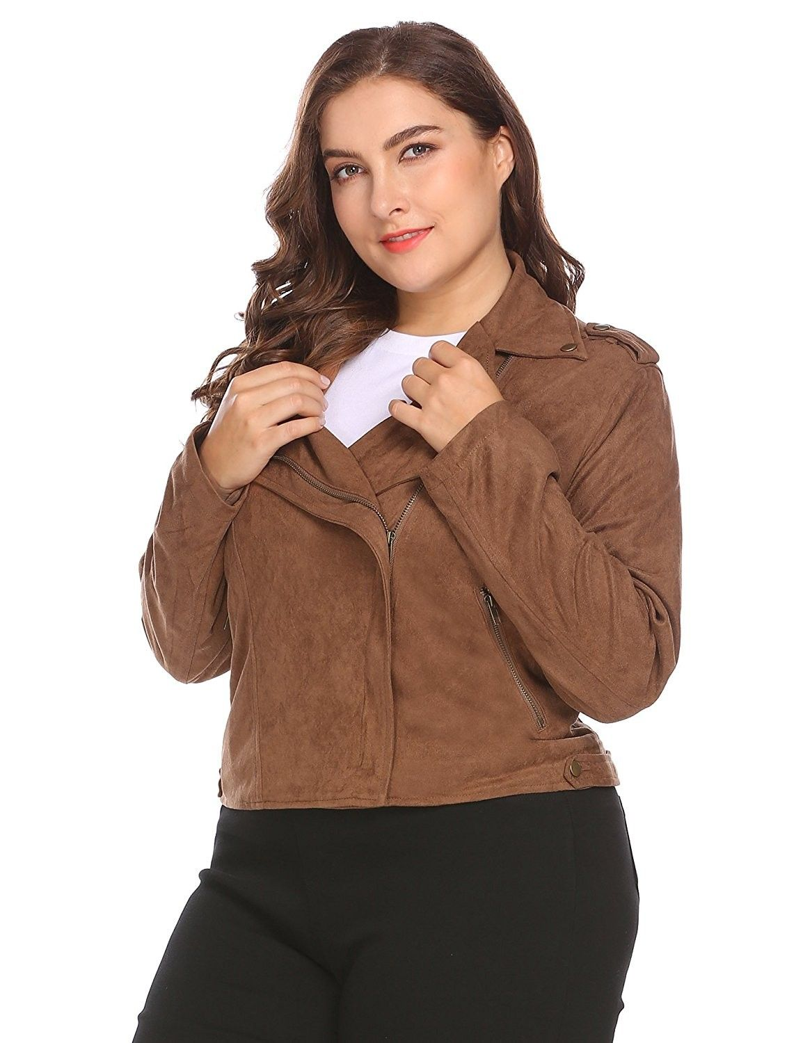 Women's Plus Size Turn Down Collar Zip Up Solid Faux Suede