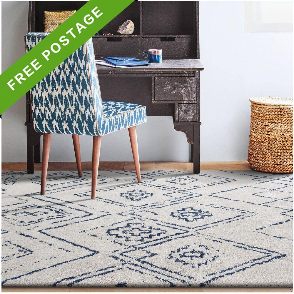 Large Cream Beige Blue Floor Rug Tribal Moroccan Modern