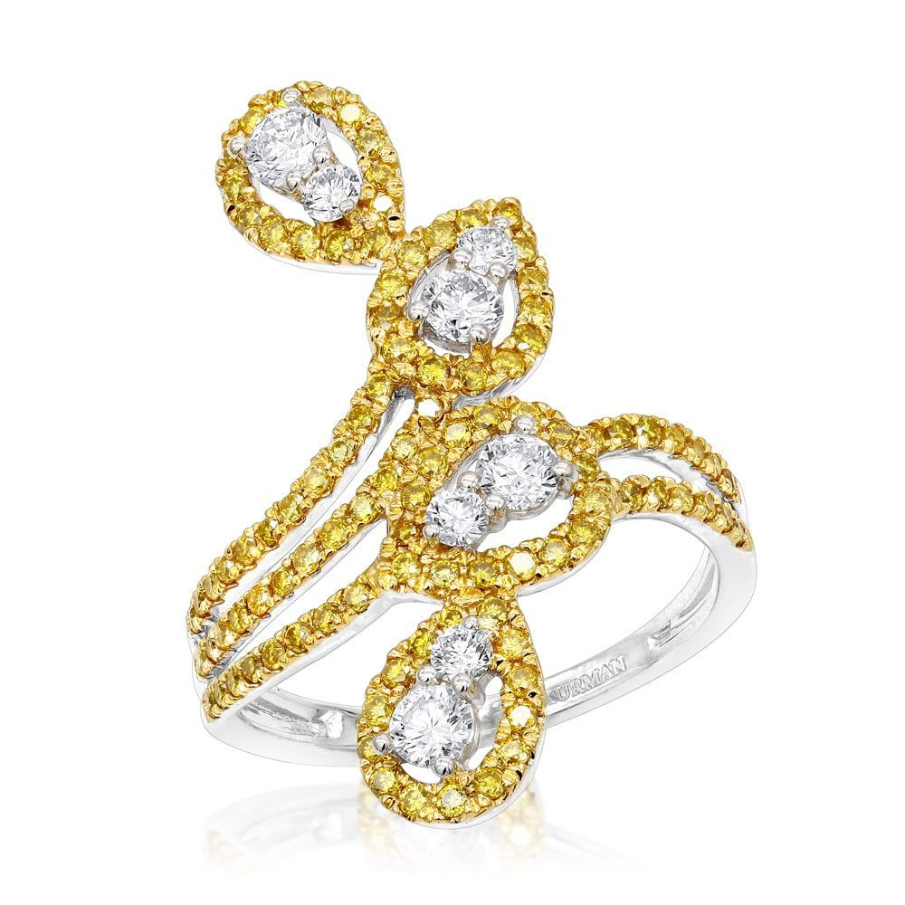 31704e8ff73 Luxurman 14K Gold Yellow Diamond Cocktail Ring for Women Floral ...