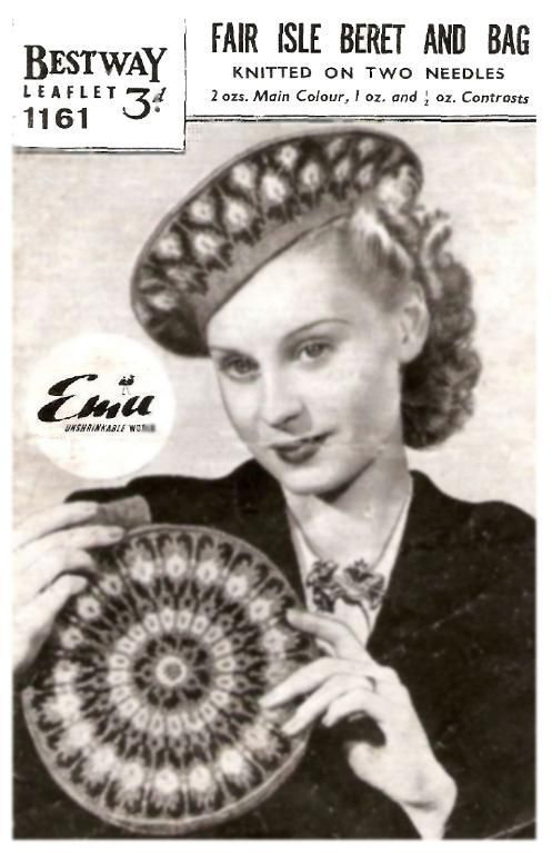 $2.50 Vintage Fair Isle Beret And Bag Pattern - Instant downloads ...
