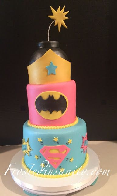 Pleasing Frosted Insanity With Images Girl Superhero Cake Girl Funny Birthday Cards Online Aeocydamsfinfo