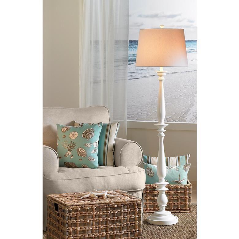 Coastal Turned Base White Floor Lamp H3789 Lamps Plus