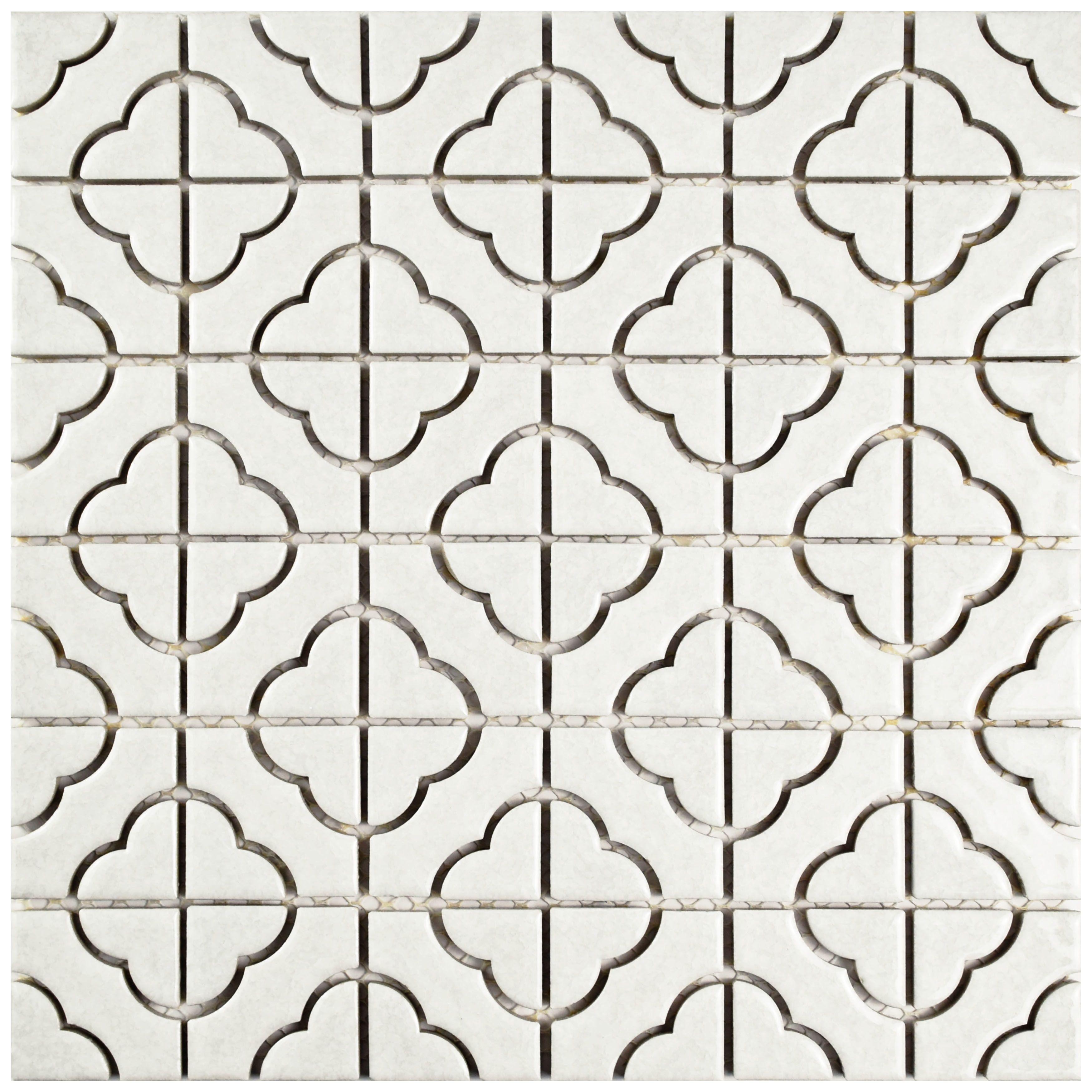 elitetile castle random sized porcelain mosaic tile in white