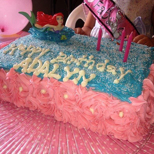 Daughters little mermaid birthday cake
