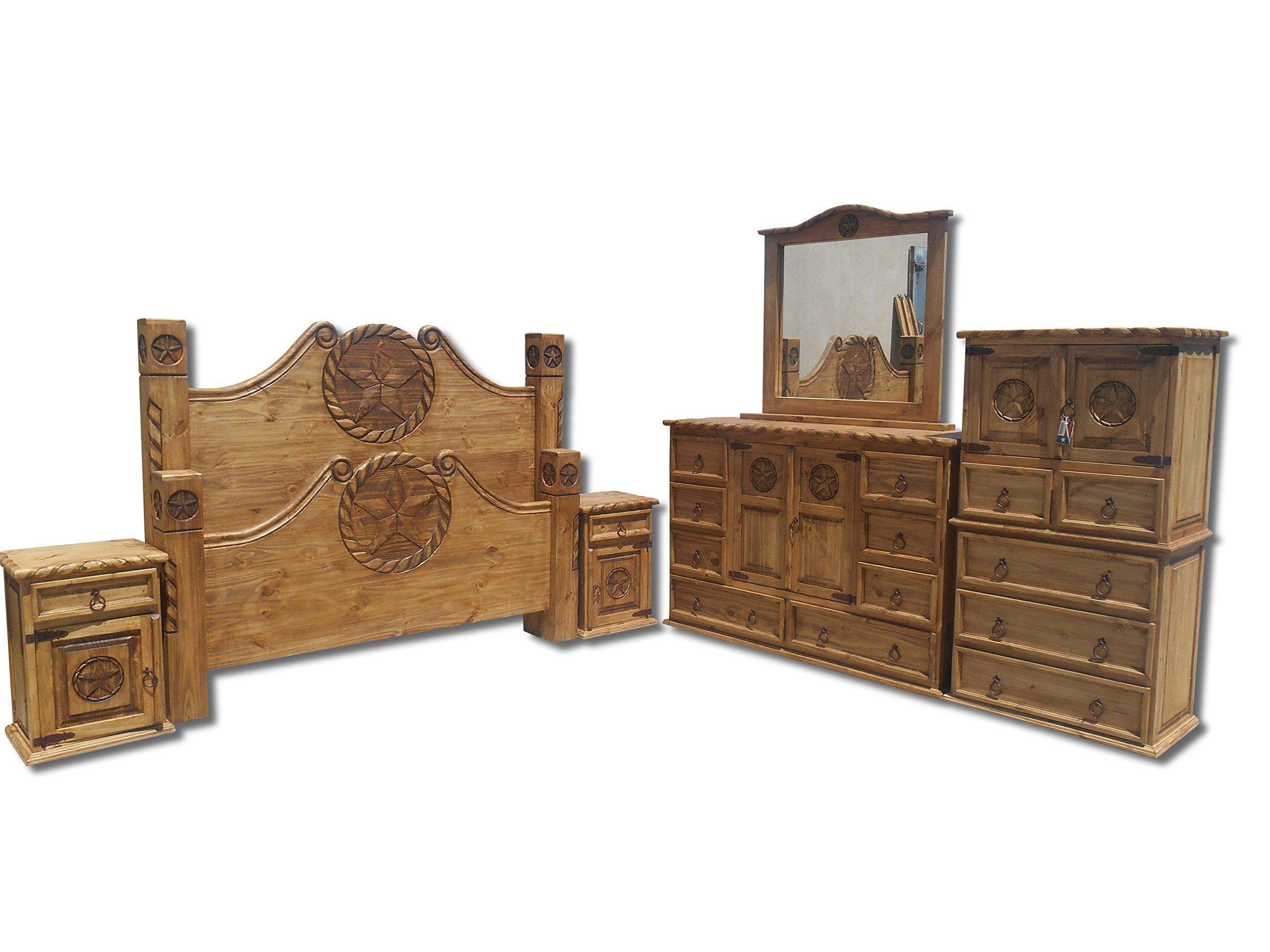 Texas Star Rustic Bedroom Set With Rope Accents Solid Wood King Extraordinary Rustic Bedroom Sets Design Ideas