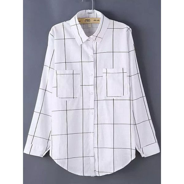 Lapel Plaid Pockets Blouse (110 NOK) ❤ liked on Polyvore featuring tops, blouses, white, white top, white collared blouse, collared blouse, embellished long sleeve tops and plaid top