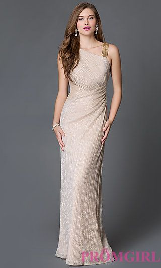 Sleeveless Gold Metallic Floor Length Prom Dress at PromGirl.com