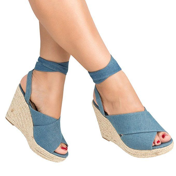 1eb2b60937d Enjoybuy Womens Espadrille Wedge Peep Toe Sandals Summer Ankle Tie ...