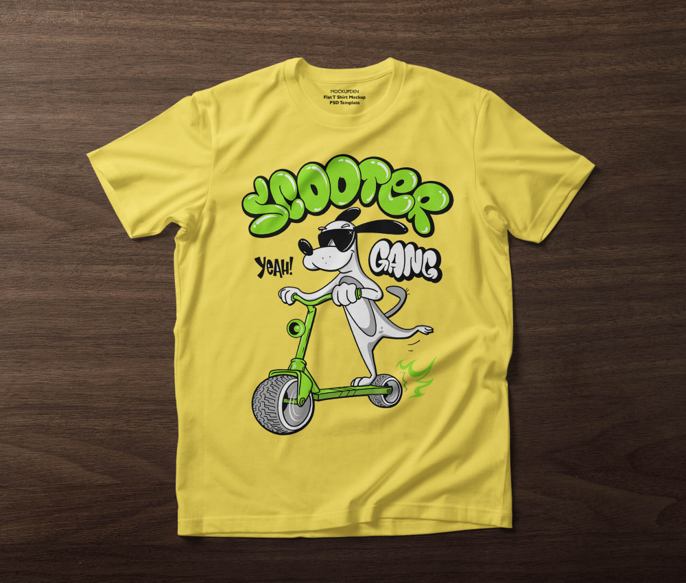 Download Free Flat T Shirt Mockup Psd Template A Simple Yellow Color Designing Flat T Shirt Mockup Showcase On A Wooden Backgroun Shirt Mockup Tshirt Mockup Mockup Psd