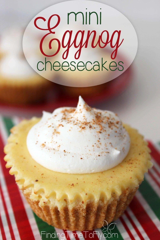 Mini Eggnog Cheesecakes #eggnogcheesecake