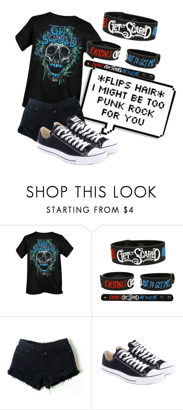 """""""get scared 💀👻"""" by animemonstergirl ❤ liked on Polyvore featuring Retrò and Converse"""