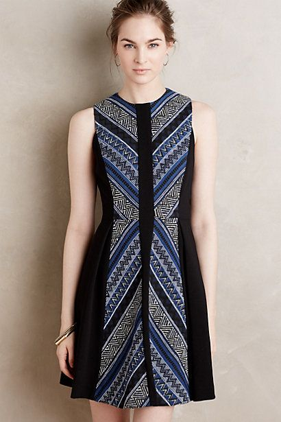Stitch Fix Stylist: Cute colors. pattern and cut of dress.  Pyramid Flare Dress #anthropologie