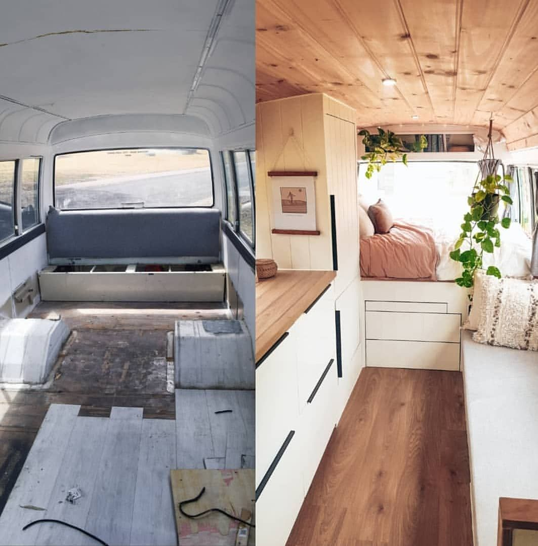 """Photo of Project Van Life 🚐 on Instagram: """"Before and after 😍 """"Over the past couple of days there has been a few times that we've looked inside Winston and said to ourselves 'what…"""""""