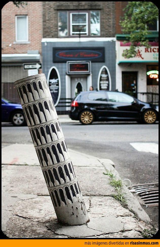 Arte callejero: torre de Pisa.