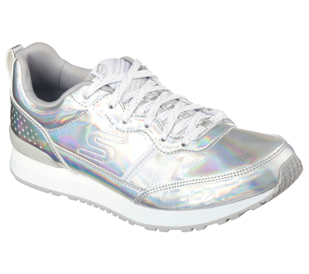 9  Skechers Sport Women Silver Blue Textile Athletic Flat Sneaker Shoe