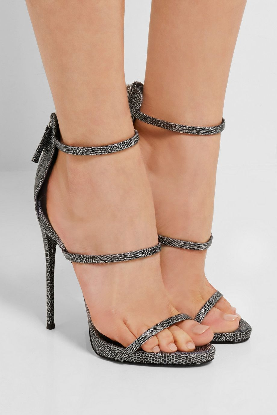 94c1d8e80854 Heel measures approximately 120mm  5 inches with a 10mm  0.5 inches  platform Silver and black lizard-effect leather Zip fastening along back  Made in Italy