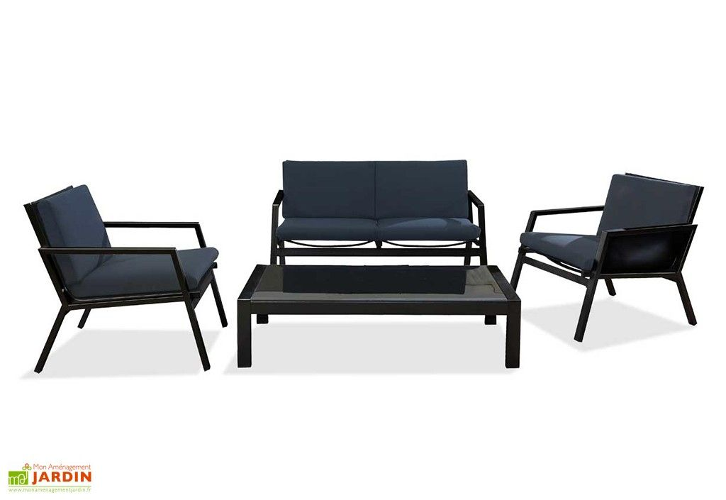 Salon de Jardin Miami Noir en Aluminium et Textilène 4 Places | Salons