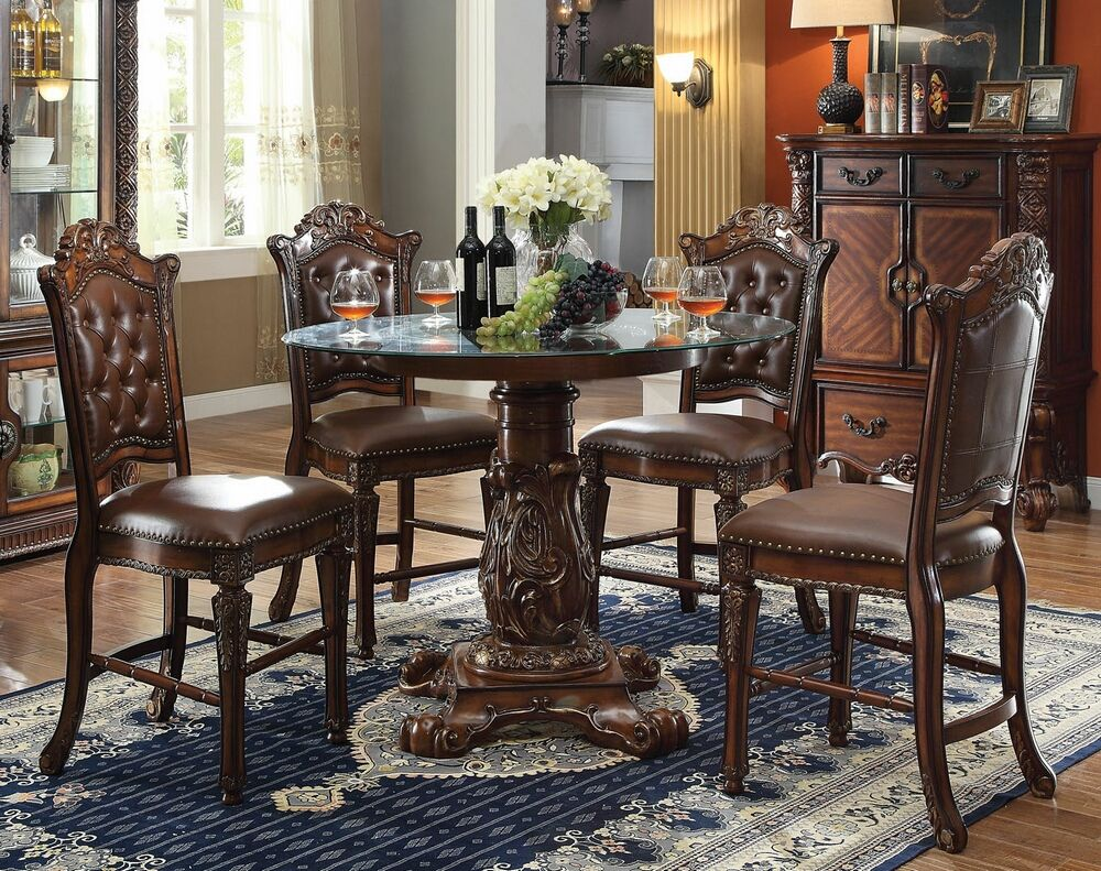 5 Pc Arizona Ii Collection Bronze Brown Color Wood And Metal Best Cherry Wood Dining Room Sets Review
