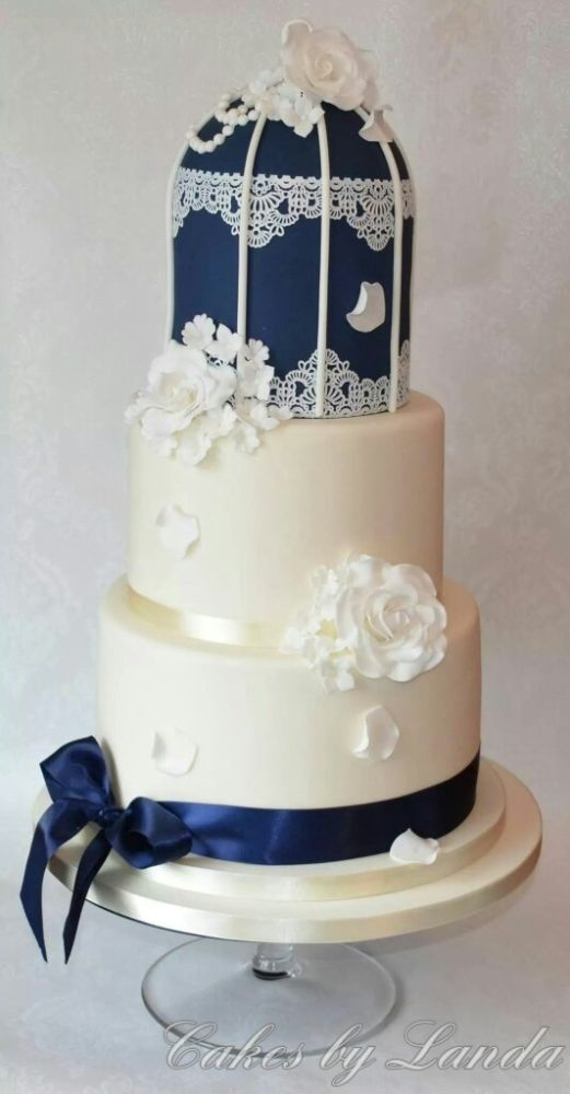 Vintage Navy Birdcage Wedding Cake More
