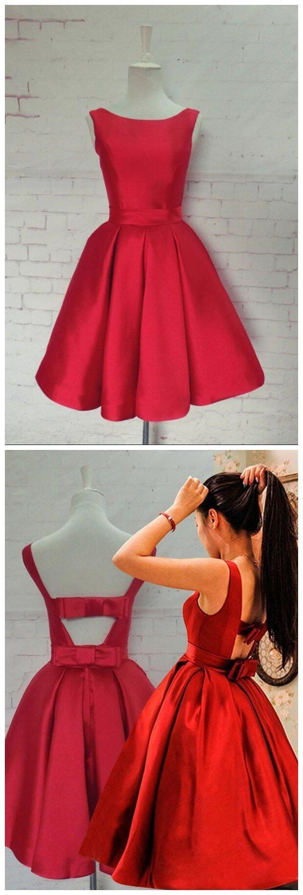 Bright red elegant simple cheap short homecoming dresses
