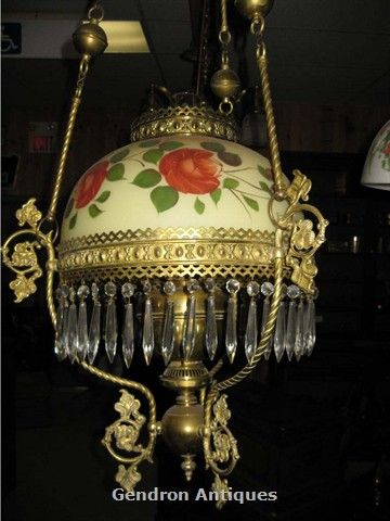 Antique b h library kerosene hanging oil lamp lighting for sale antique hanging lamps antique hanging oil lamp brass with hand painted shade aloadofball Choice Image