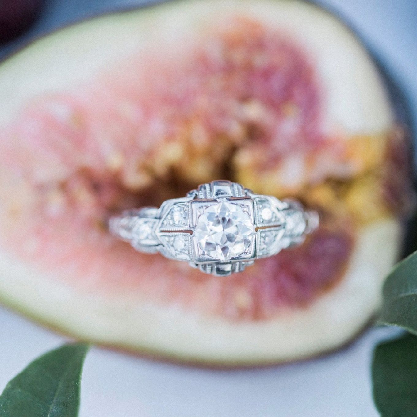 Diamonds & Figs | Gorgeous Art Deco engagement ring photographed by ...
